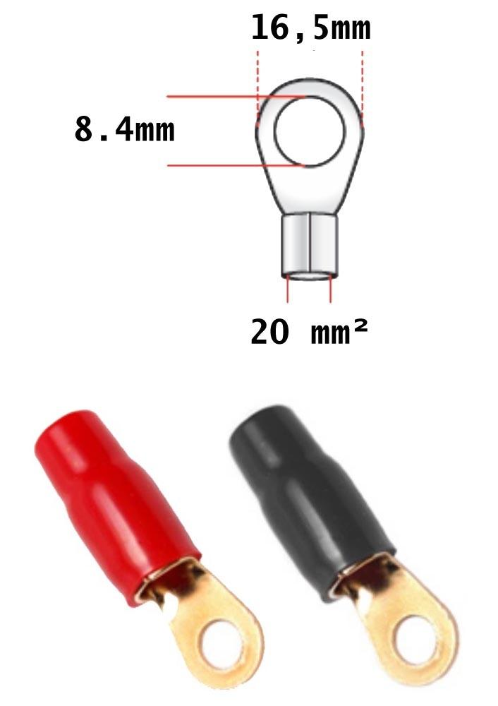 2 x schwarz Ringösen 10 mm² /> 10 mm 2 x rot